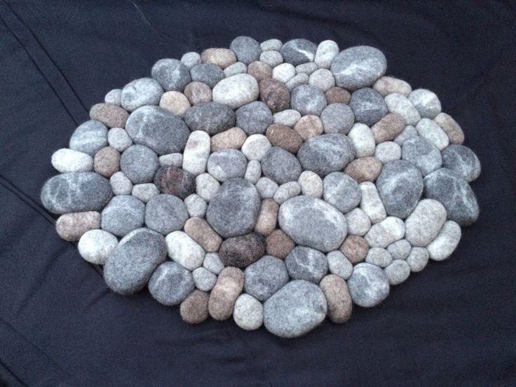 Teppiche - Filzsteinteppich 3D grau-braun - ein Designerstück von Flussdesign bei DaWanda