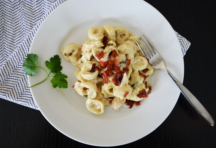 Tortellini Bake with Bacon Chicken and Asiago Cream Sauce