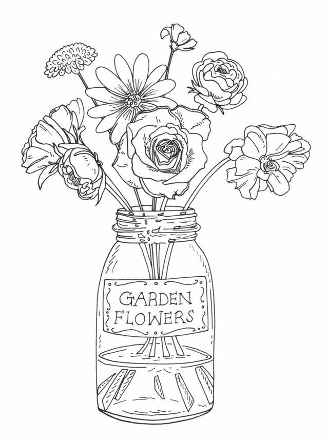 Flowers In Vase Of Water Vaseideen Flowers In Vase Of Water Floral Drawing Flower Drawing Flower Rubber Stamps