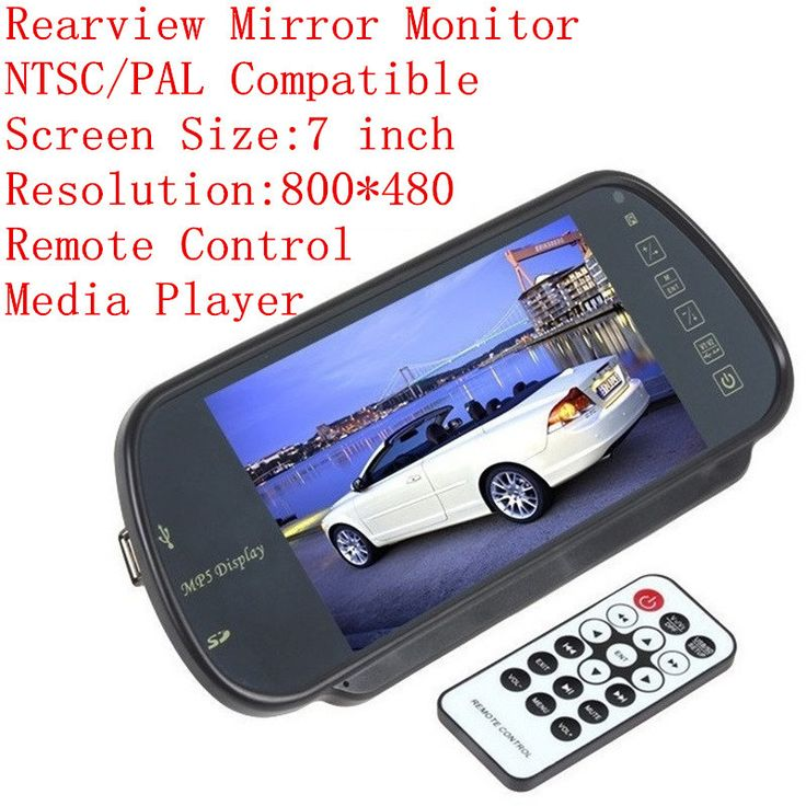 Car Monitor 7 Inch Rearview Mirror MP5 Player FM Transmitter Remote Control For Rear View Camera DVD SD Card PAL/NTSC Compatible