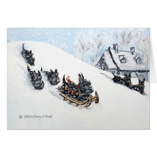 Scottish Terriers Sledding Card