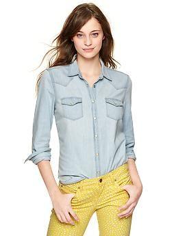 bleached western denim shirt | gap.