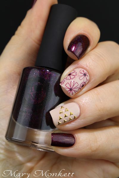 ILNP Black Orchid. Gold studs, flowers, burgundy and nude nail art for fall.