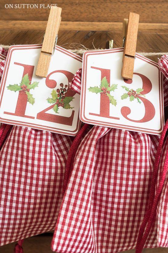 Kids Advent Calendar DIY Printable Numbers Christmas Pinterest