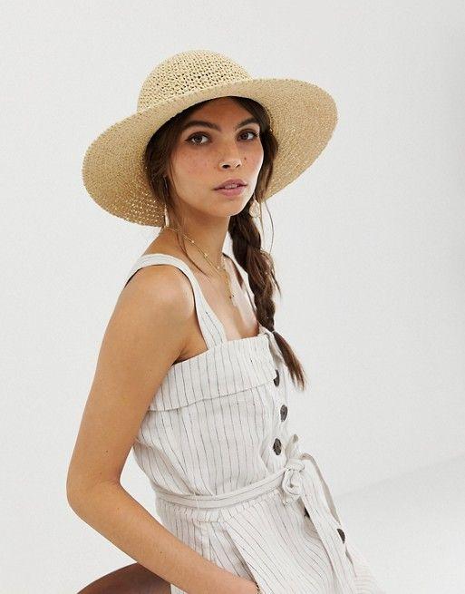 59be3872 DESIGN straw crochet short brim floppy hat with size adjuster in ...