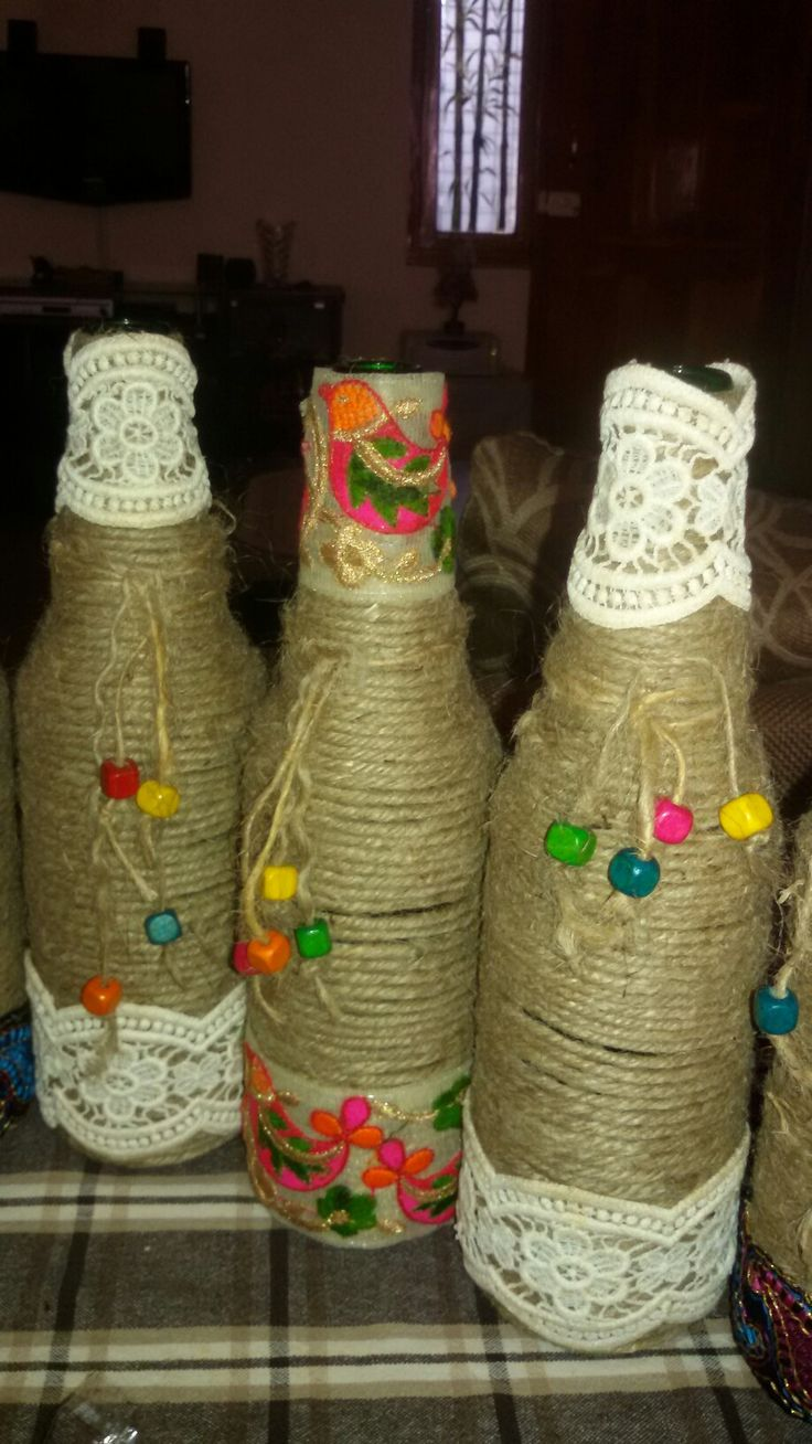 Wine bottle decorated with jute