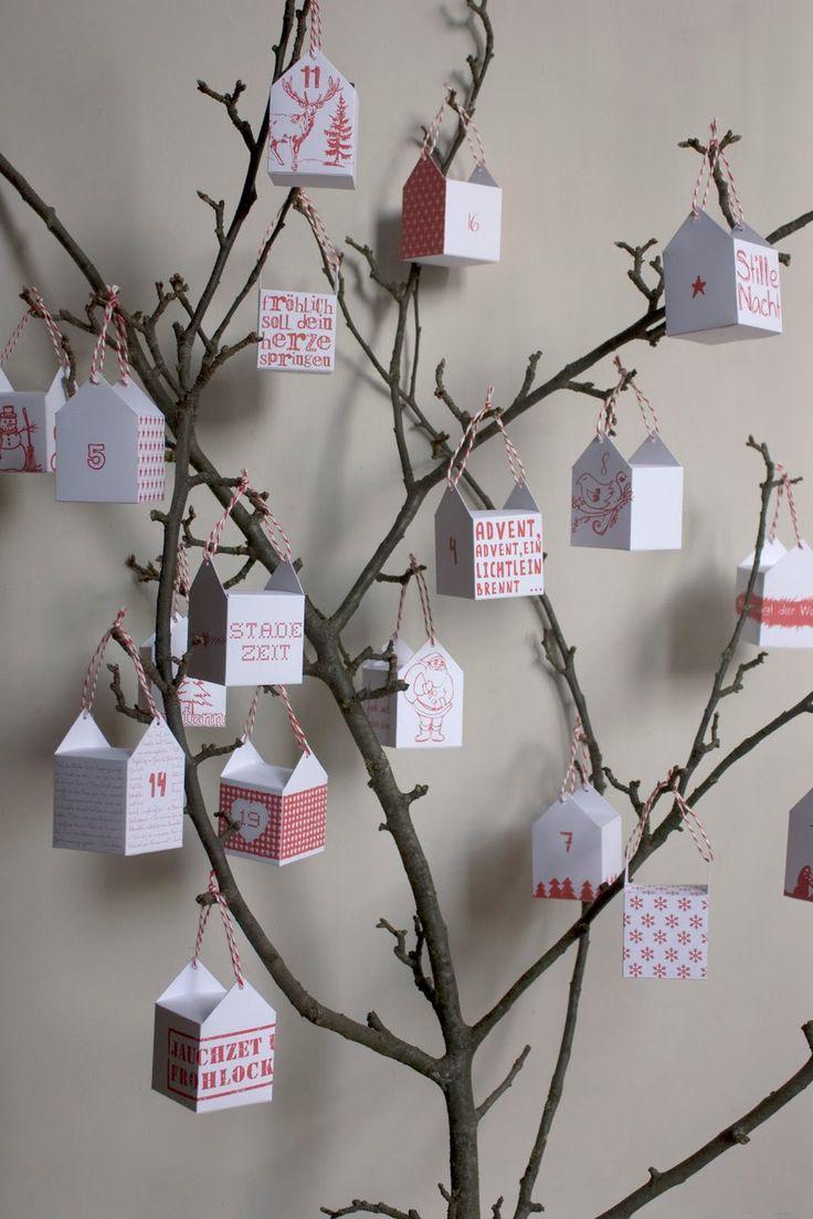 Advent calendar . { DIY & tutorial to make this super cute boxed advent calendar . simple red & white Xmas themed } .
