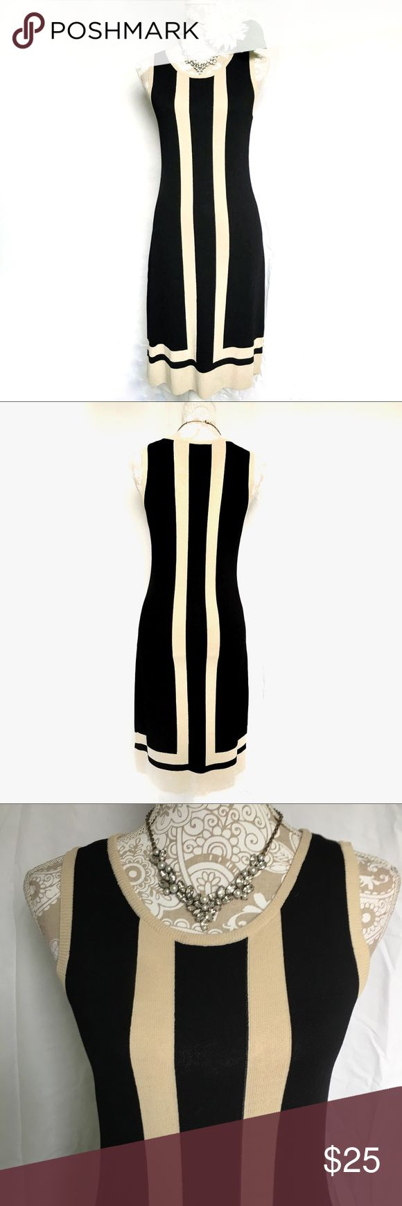 Tan Striped Black Sleeveless Sweater Dress Great for work, career wear dress. Medium weight sweater material. Black dress with tan stripes and trim. Fitted shape and modest length. In excellent condition. Not sure what this brand is but if you know, please feel free to tell me. Dresses Midi