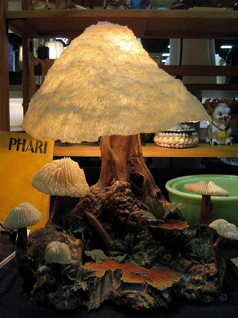 Mushroom lamp~ I own this touch lamp and have added a few elves for a magical ambiance...