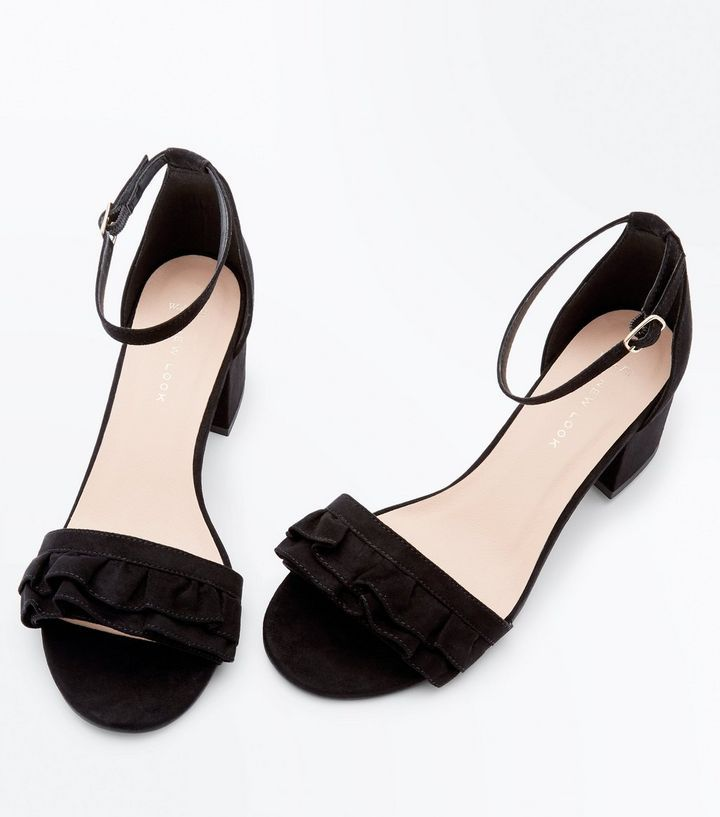 Wide Fit Black Frill Strap Low Block