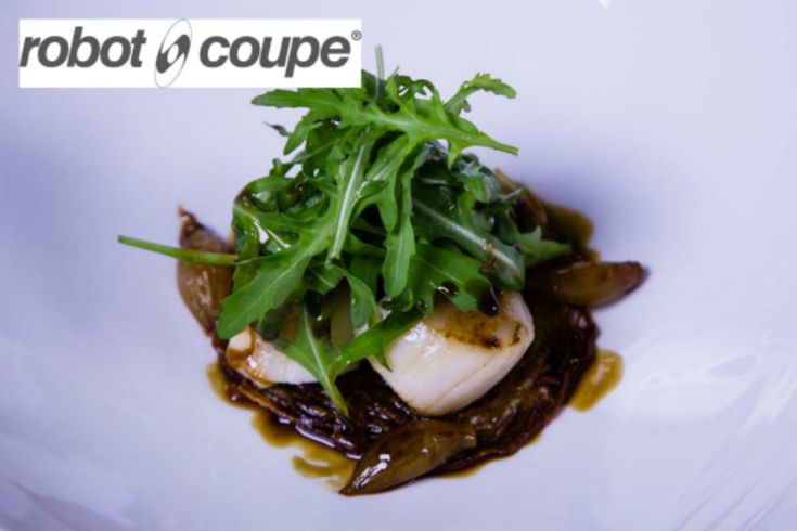 Brixham scallops with Green tomato chutney, sherry vinegar jus and rocket salad recipe by professional chef Simon Hulstone, The Elephant, Torquay (uploaded by Robot Coupe UK)