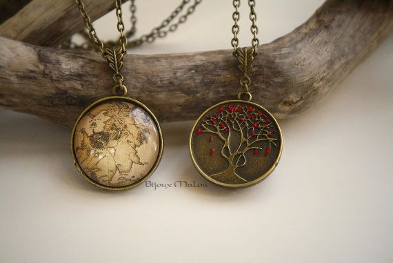 Double Sided GoT Westeros Map Necklace and Heart Tree by BijouxMalou