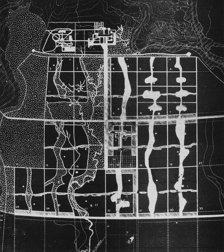 Ле Корбюзье / Le Corbusier. Генеральный план 1951 г. столицы Пенджаба г. Чандигарх (Индия)