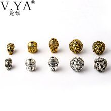 Hot sale 10 Style Beads Charms Skull&Buddha&Lion Charm for Bracelets Necklace Chain DIY Jewelry(China (Mainland))