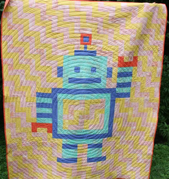 41 best images about robot nursery ideas on pinterest for Robot quilt fabric