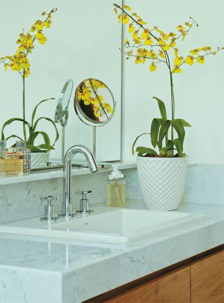 Banheiro decorado com uma linda orquídea chamada no brasil de pingo de ouro. ficou um charme.
