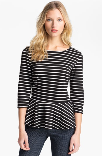 Bobeau Stripe Peplum Top $19.97