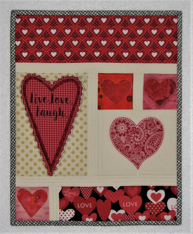 """Valentine Quilted Wall Hanging, Live Love Laugh Art Quilt, Heart Wall Quilt, 14.75""""x11.75"""", Quiltsy Handmade by VillageQuilts on Etsy"""