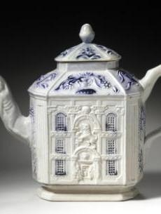 House Teapot, circa 1750, England, Staffordshire, salt-glazed stoneware