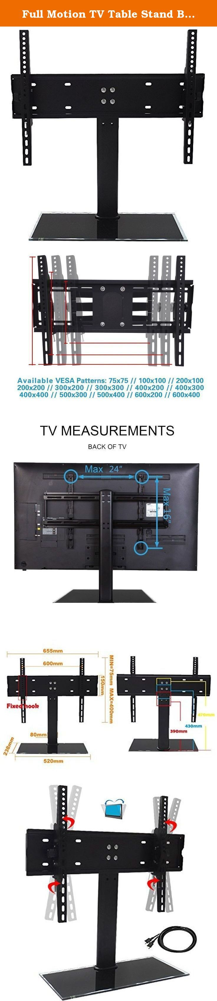"""Full Motion TV Table Stand Bracket for 17"""" - 55"""" Plasma, LCD and LED Flat Screen Monitor up to 78lb. Description This mount fits most of 22""""-55""""(some up to 60"""") TVs sold today. It fits TVs with mounting holes as close as 3""""X3"""" or as wide as 24""""x16"""" (in TV terms - VESA 100x100mm to 600x400mm). Specifically, it fits VESA 75X75mm, 100X100mm, 200X100mm, 200X150mm, 200X200mm, 300X200mm, 300X300mm, 400X200mm, 400X300mm, 400X400mm, 600x400mm Package Contents: 1 x Tv stand 1 x Hardware kit 1 x…"""