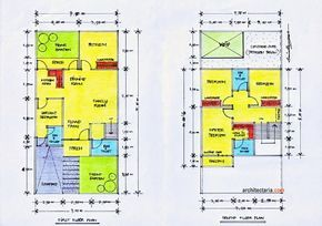 Contoh denah rumah minimalis 2 lantai type 90