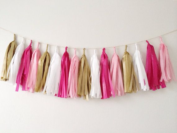 Pinks White and Gold Tassel Garland on Gold Rope - Valentines Day, Party Decor, Birthday Party, Weddings, Nursery, & Photo Prop