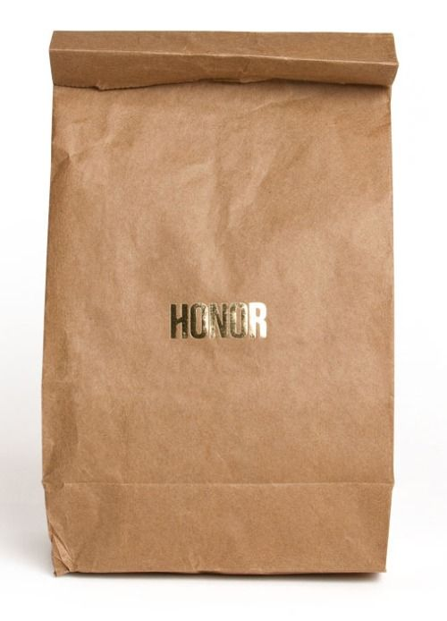 Love the contrast, rich gold on plain paper bag