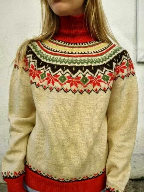 Ukjent, fair isle jumper with red roll neck, cuffs and hems.