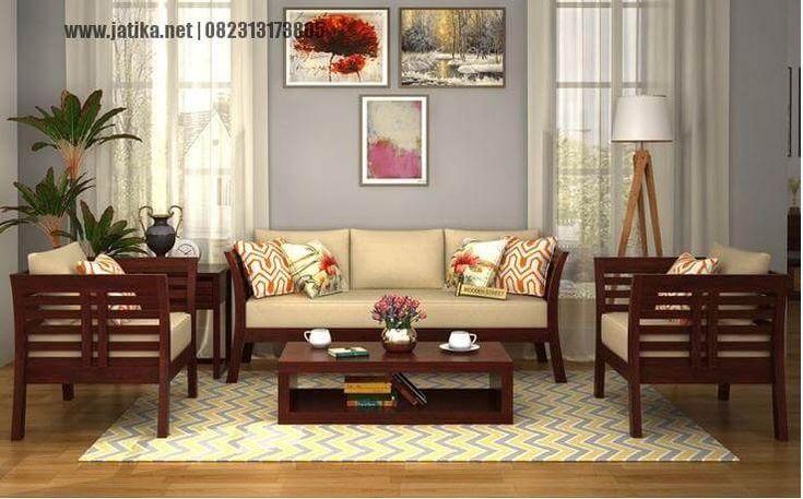 Set Ruang Tamu Minimalis Jati Klasik di desain dengan konsep minimalis berbahan dasar kau jati memiliki formasi set 311 meja utama dan 1 meja kecil