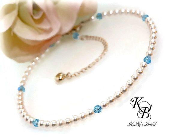 Blue Anklet, Bridal Anklet, Wedding Jewelry, Pearl Anklet, Beach Wedding, Outdoor Wedding, Aquamarine Anklet, Destination Wedding, Bride