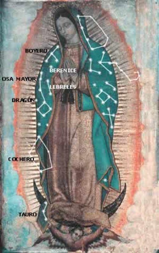 Las estrellas en el manto de la Virgen de Guadalupe. Lado derecho.  Estudio de Juan Homero Hernández Illescas.