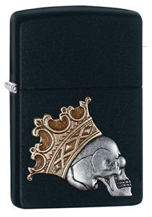 Feeling like a king? Grab this Black Matte lighter adorned with a crowned skull emblem. Comes packaged in an environmentally friendly gift box. For optimal performance, use with Zippo premium lighter fluid.
