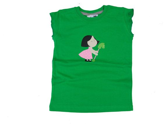 Girls  T shirt / green t shirt /doll/ rubber doll  /children clothing/girls T-shirt/girls tee 100% cotton FREE SHIPPING World wide - $14.00