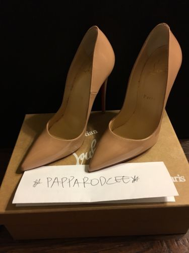 8bde1d54d757 slightly used CHRISTIAN LOUBOUTIN SO KATE 120 PATENT LEATHER PUMPS size 7  NUDE