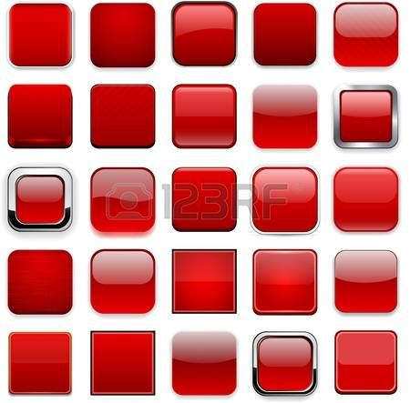 Set of blank red square buttons for website or app.  photo