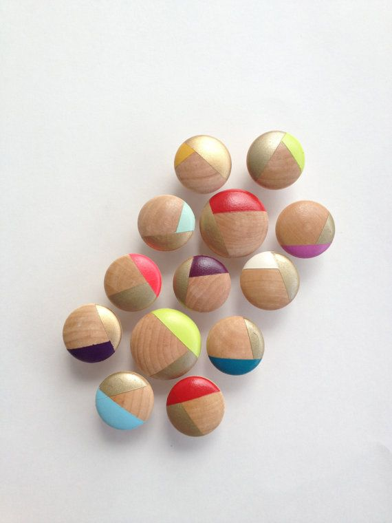 """1-1/4"""" Handpainted wood hardware, drawer pulls, cabinet pulls, gold and assorted colors, turquoise, pink, red, white, mint, teal, purple on Etsy, £4.32"""