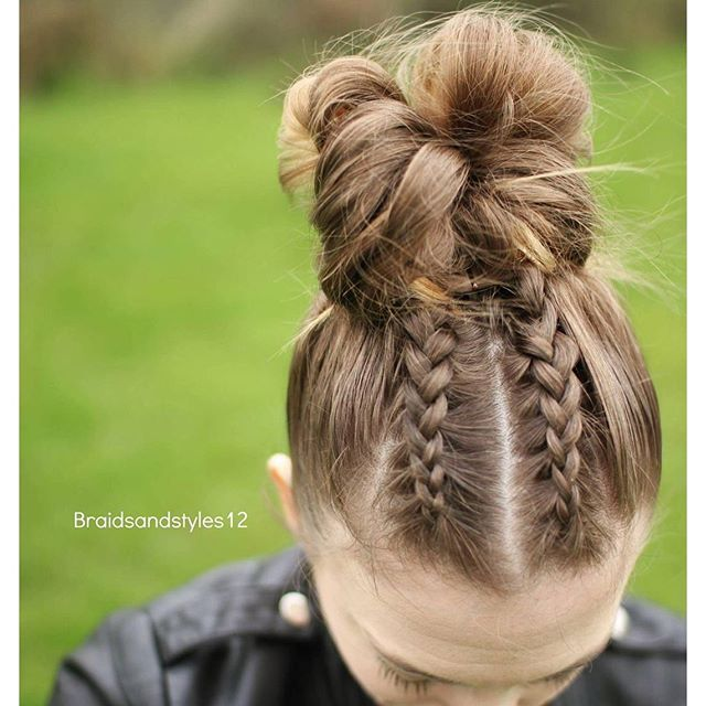 Dutch braids into a messy bun by Braidsandstyles12