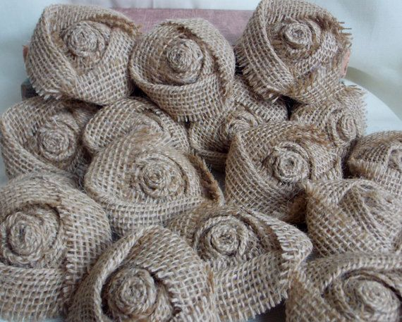 Wholesale Burlap Flowers Burlap Rosettes Rustic Shabby Chic Wedding Decor Set of 100