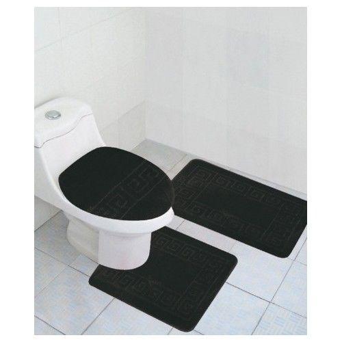 Black Bathroom Rug Set Lid Cover Bath Mat Modern Decor Toilet Contour Anti-Slip