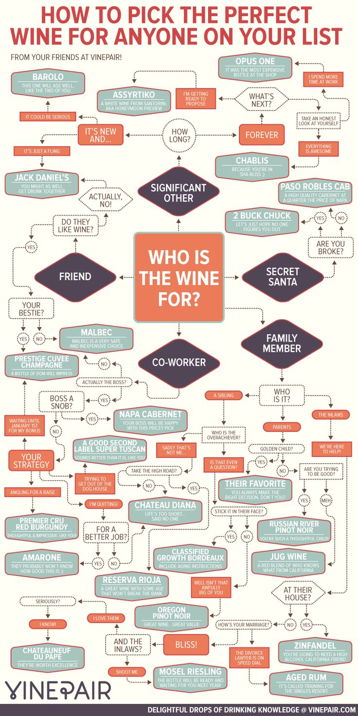 Whether it's going to your co-worker's, brother-in-law's, or Secret Santa party, you can never go wrong with a bottle (or two!) of wine. If you're not a sommolier and need a little nudge in the right direction, look no further. This inforgraphic from our friends at VinePair asks the necessary questions to determine the best bottle for whoever your lucky recipient may be!