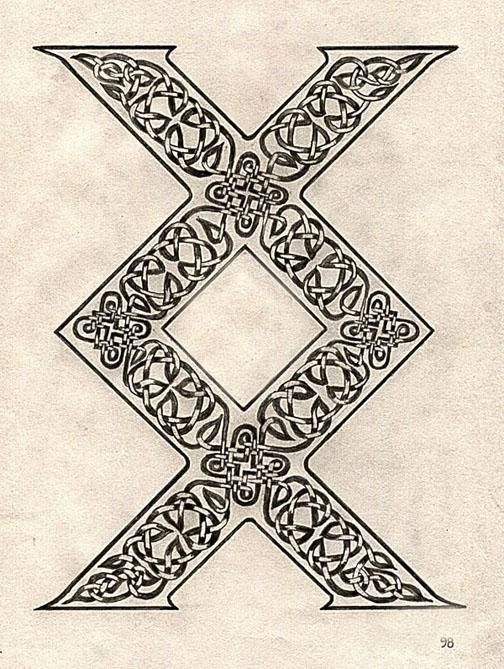 "viking symbol called inguz, means ""where there is a will, there is a way"", it can also me a completion of a task, or to stay on your path or journey. i really love this would be an awesome tattoo. ***description taken from person I re-pinned this from. I am looking for a good source or authority on where the meanings of bind runes originate if anyone knows of any, thanks!***"