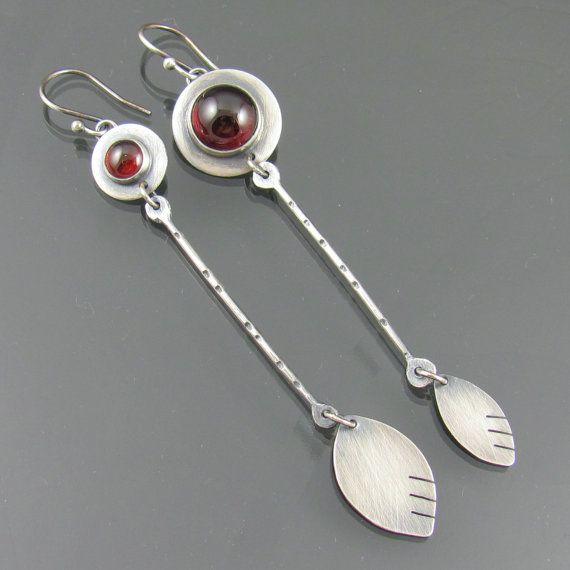 garnet petal sterling silver earrings  garnet by NRjewellerydesign, £69.99