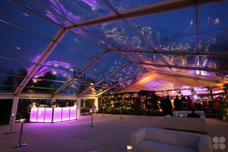 clear PVC roof wedding marquee hire with LED bar
