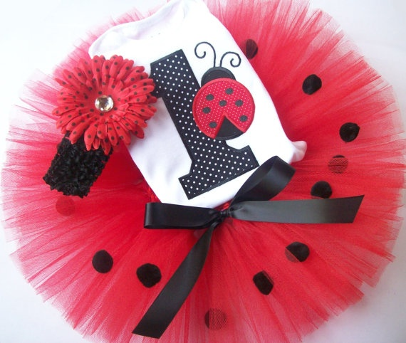 Lady Bug 1st Birthday Onesie and Tutu Set by DollarGoodySupplies, $24.99