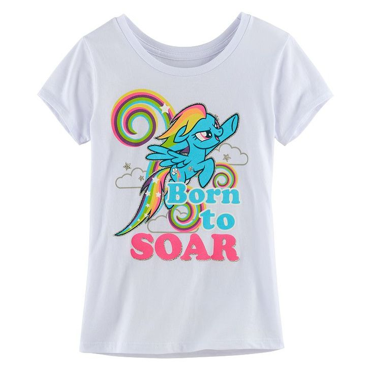 "Girls 7-16 My Little Pony Rainbow Dash ""Born To Soar"" Tee, Girl's, Size: Medium, White"