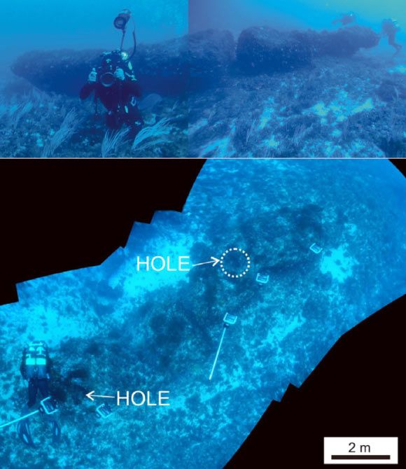 Huge monolith dated c.7000 b.c. discovered off Sicilian coast. Underwater composite photographs taken from divers, showing the discovered monolith and some details. Top: full lateral view. Bottom: full view from above. Image credit: Emanuele Lodolo / Zvi Ben-Avraham.
