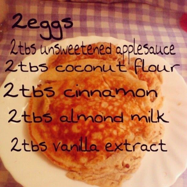 """Coconut flour pancakes - Want to make it plant-based? Use a """"flax egg"""" 1 Tbsp ground flax soaked overnight in 3 Tbsp water."""