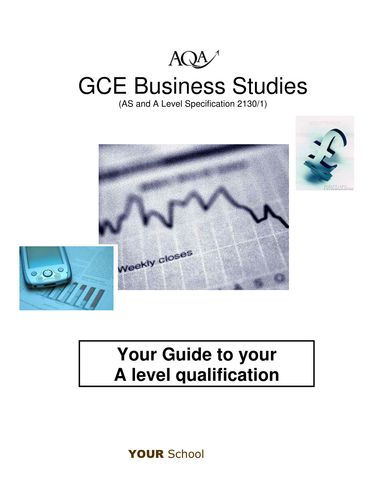 """AQA A level Business Studies - induction guide  """"Technology Lesson"""" """"high school"""""""