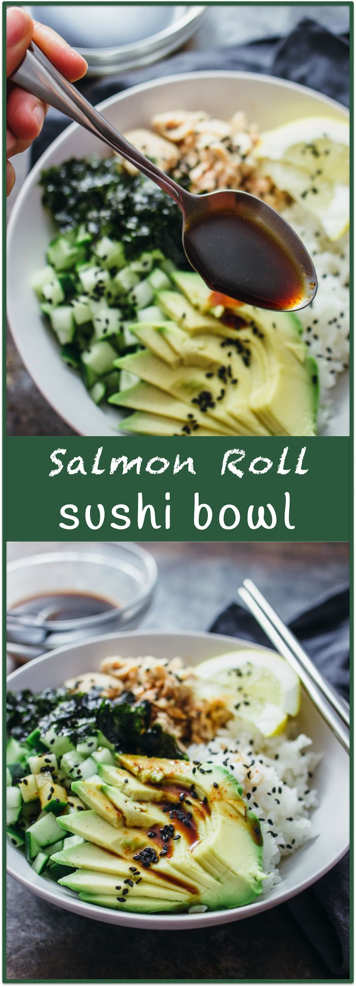 Salmon roll sushi bowl - Imagine your favorite sushi roll (California roll? Tuna roll? Dynamite roll?) — in a bowl. Almost everything tastes better in bowl form (think burritos) and sushi is no exception. This delicious sushi bowl recipe includes salmon, sliced avocado, diced cucumber, crumbled seaweed, and toasted sesame seeds. Best yet, there's an easy-to-make spicy dressing made of soy sauce, sriracha, and a hint of lemon. - savorytooth.com via @savory_tooth