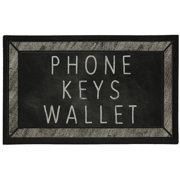 Phone Keys Wallet Doormat ($15) ❤ liked on Polyvore featuring home, outdoors, outdoor decor, rubber welcome mat, outdoor rubber mats, rubber mat, rubber door mats and rubber doormat